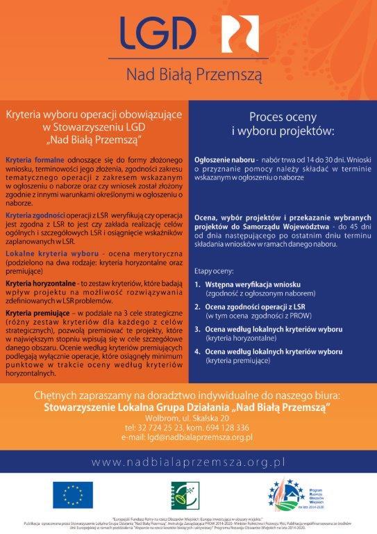 Informacja na temat zasad oceniania i wyboru operacji